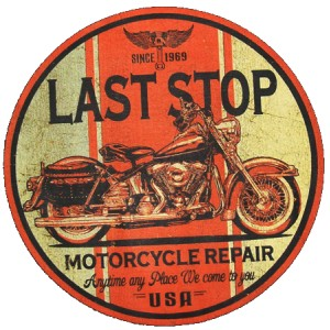 Sweat last stop motorcycle