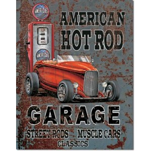 Plaque metal decorative American hot rod