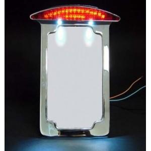 Support de plaque chromé vertical avec éclairage harley et custom