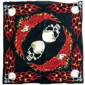 Bandana flaming skulls.