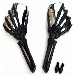 Retroviseurs main squelette noir et chrome pour Harley et custom