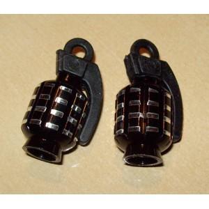 Bouchon de valve grenade noir/chrome