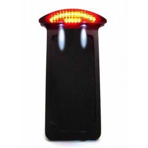 Support de plaque noir vertical avec éclairage harley et custom