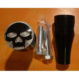 Risers droit en aluminium noir, motif skull