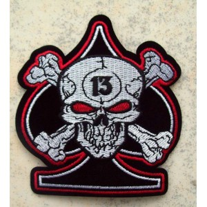 Patch, as de pique, skull 13.