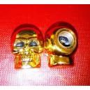 Bouchon de valve tete de mort gold yeux noir