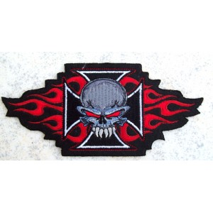 Patch, iron cross skull.