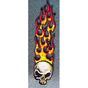 Patch, écusson flaming skull.