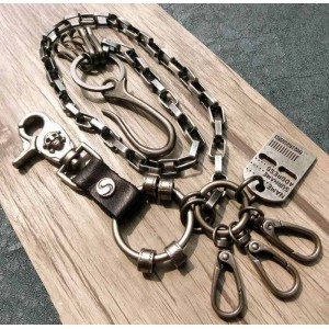 Chaine portefeuille biker mailles rectangle et plaque identification