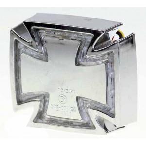Feux arrière croix de malte chrome pour Harley et Custom