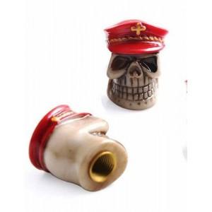 Bouchon de valve métal tête de mort casquette rouge