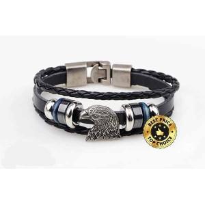 Bracelet cuir 3 branches, tête d'aigle