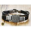 Bracelet triples cuir noir route 66