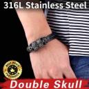 Bracelet cuir noir tressé avec 2 têtes de mort mexicaine