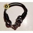 Bracelet cuir noir 2 branches, avec petite tête de mort