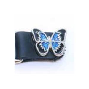 Chaine de gilet papillon bleu