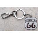 Porte clés route 66 blanc.