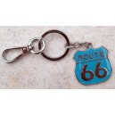 Porte clés route 66 bleu.