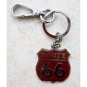 Porte cles route 66 marron.
