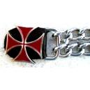 Chaine de gilet croix templier rouge.