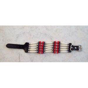 Bracelet indien 5 rangs rouge.