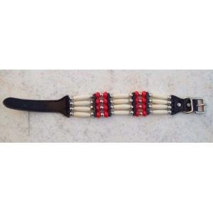 Bracelet indien 4 rangs rouge.