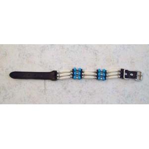 Bracelet indien 3 rangs bleu.