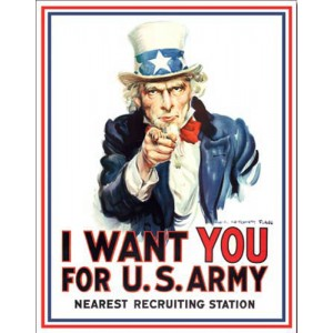 Plaque metal decorative i want you for us army