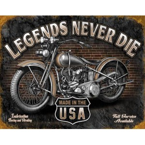 Plaque metal decorative legend never die