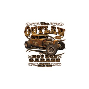 T shirt the outlaw hot rod garage.