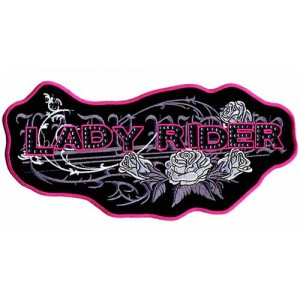 Patch, écusson lady rider red.