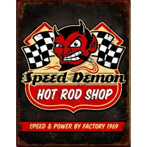 Plaque metal decorative hot rod shop.