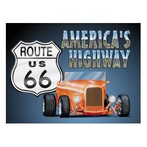 Plaque metal decorative america's higway