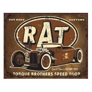 Plaque metal decorative rat.