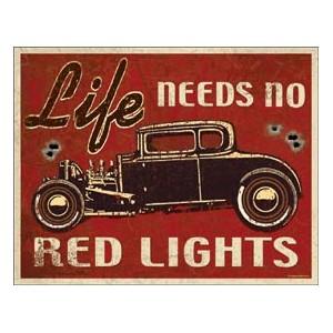 Plaque metal decorative red lights
