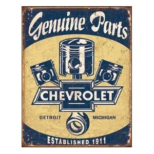 Plaque metal decorative genuine parts chevrolet.