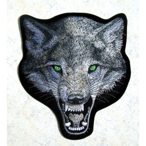 Patch,écusson tête de loup grand format.