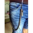 Chaine portefeuille mailles plates chrome noir et cuir marron clair, finition par tête de mort.