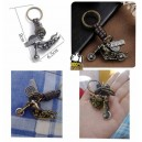 Porte clés skull and bike silver
