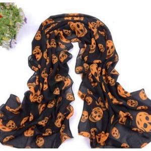 foulard orange têtes de mort